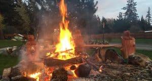 loggerodeo bear bench campfire
