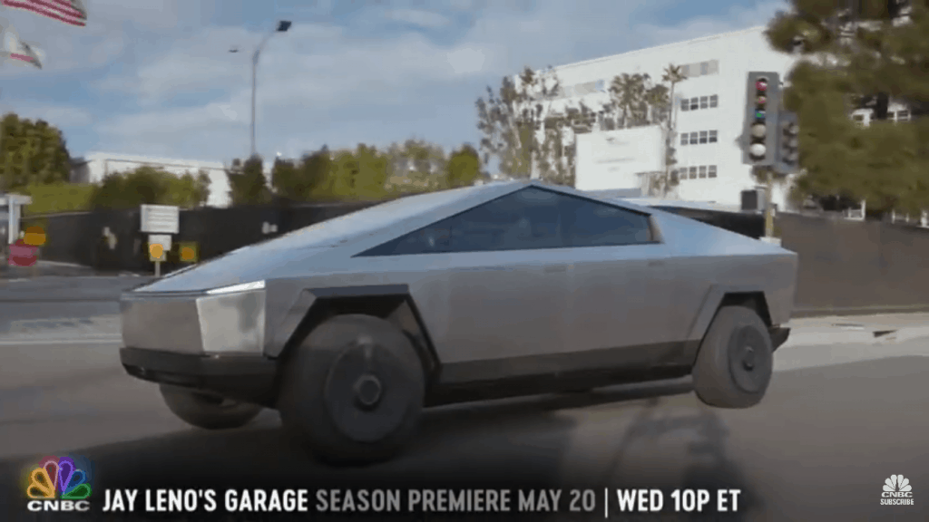 elon musk and the cybertruck on jay leno's garage