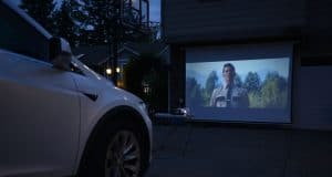 tesla home drive-in theater