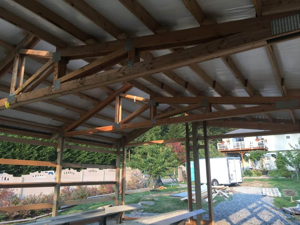 pole building roof installed