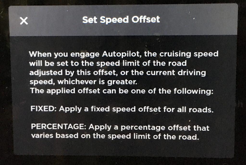 tesla set speed offset