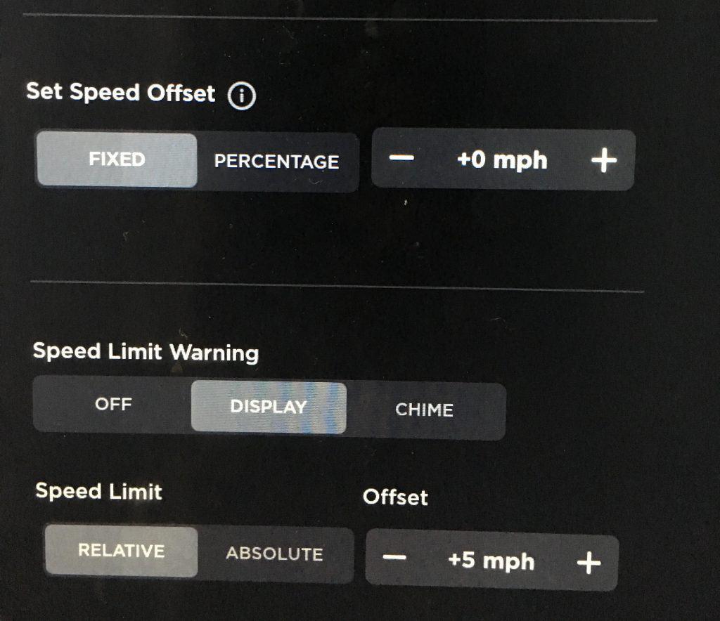 tesla set speed offset vs speed limit offset