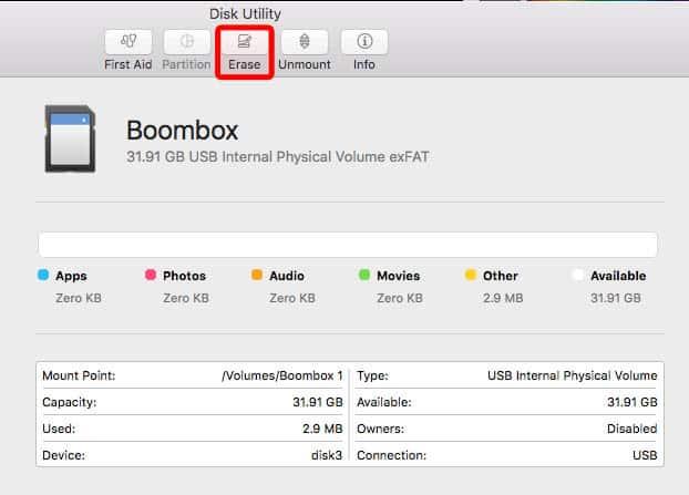 flash drive formatting for tesla boombox