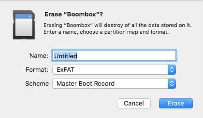 tesla boom box flash drive formatting
