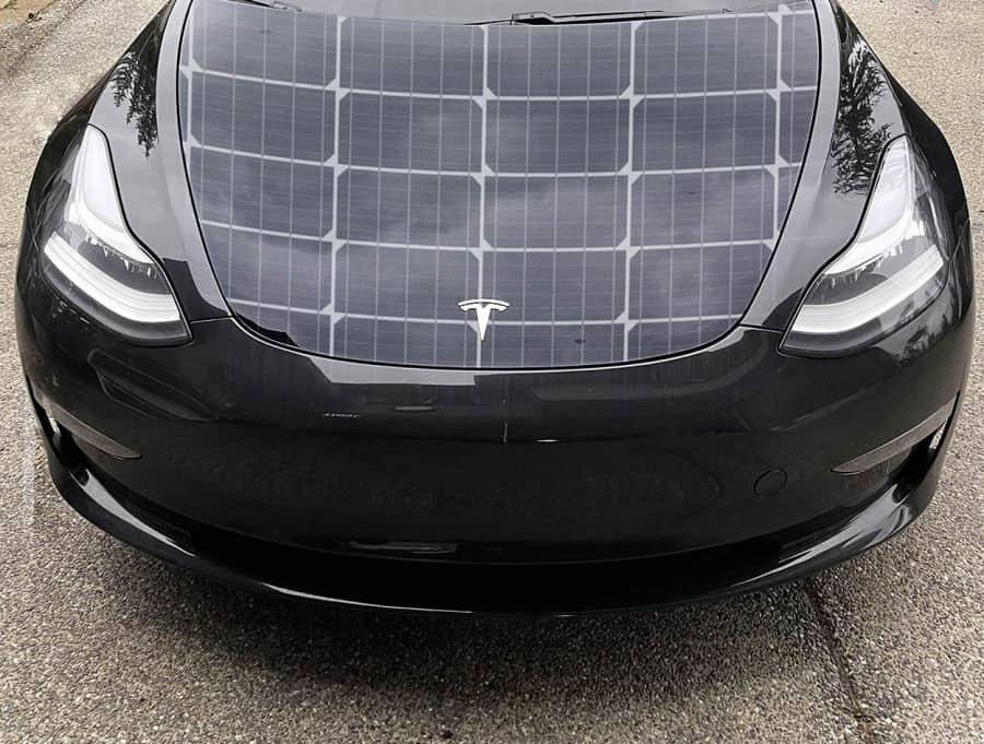 tesla car solar hood mockup
