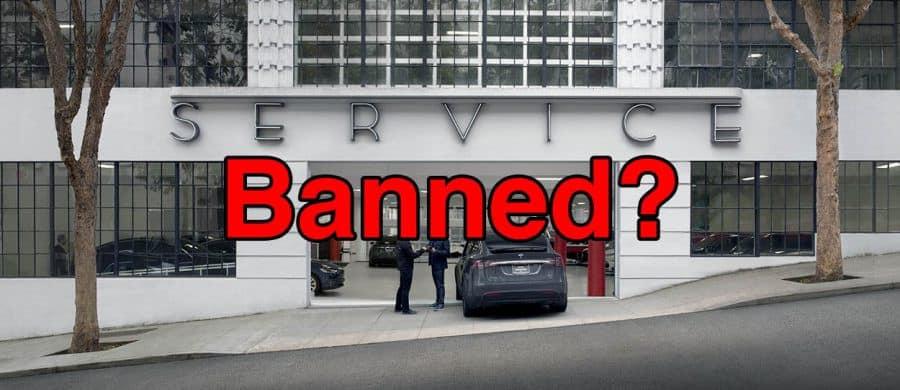 tesla dealership banned